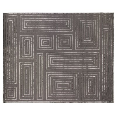 Metro Moreno Hand-Knotted Wool Charcoal Area Rug Rug Size: 10 x 14