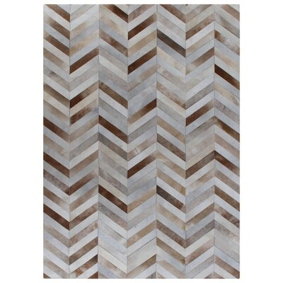 Natural Hide Hand-Woven White/Brown Area Rug Rug Size: 96 x 136