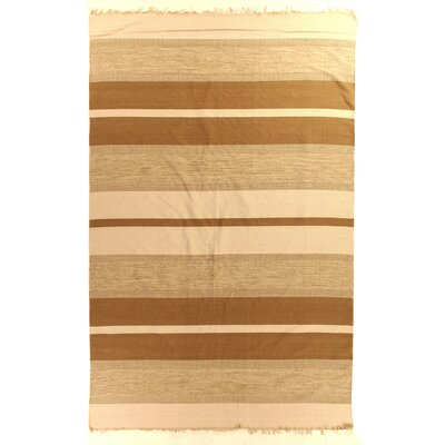 Soft Flat Weave Cotton Brown Area Rug Rug Size: 5 x 8