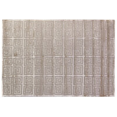 Greek Key Greco Hand-Knotted Wool Beige Area Rug Rug Size: 10 x 14