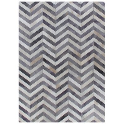 Natural Hide Hand-Woven Cowhide White/Light Gray Area Rug Rug Size: 96 x 136