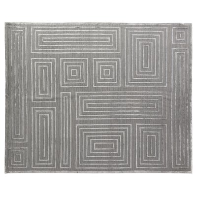 Metro Moreno Hand-Knotted Wool Silver Area Rug Rug Size: 6 x 9