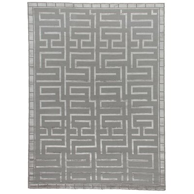 Thompson Hand-Knotted Wool Silver Area Rug Rug Size: Rectangle 6 x 9