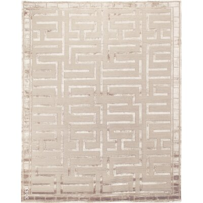 Thompson Hand-Knotted Wool Beige Area Rug Rug Size: Rectangle 14 x 18