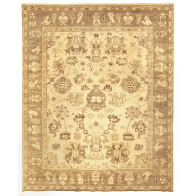 Oushak Hand-Knotted Wool Taupe Area Rug Rug Size: 10 x 14