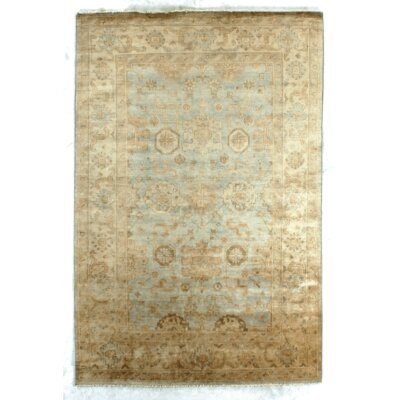 Oushak Hand-Knotted Wool Light Blue Area Rug Rug Size: 4 x 6