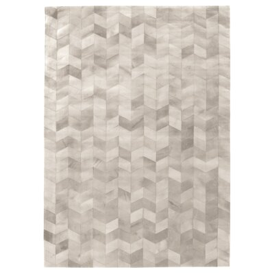 Natural Hide, Leather, Silver/Ivory/Multi (136x176) Area Rug Rug Size: 5 x 8
