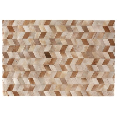 Natural Hide, Leather, Beige/Multi (136x176) Area Rug Rug Size: 12 x 15