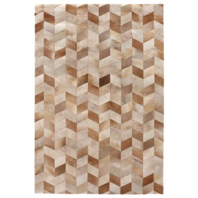 Natural Hide Beige Area Rug Rug Size: 5 x 8