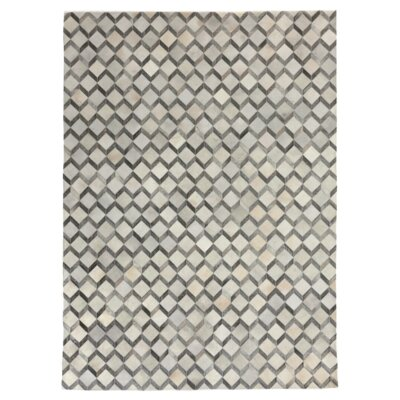 Natural Hide, Leather, Ivory/Silver/Black/Multi (12x15) Area Rug Rug Size: 116 x 146