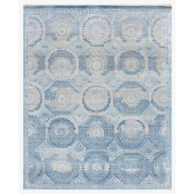 Hand-Knotted Blue Area Rug Rug Size: 9' x 12'