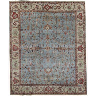 Hand-Knotted Wool Blue Area Rug Rug Size: Rectangle 12 x 15
