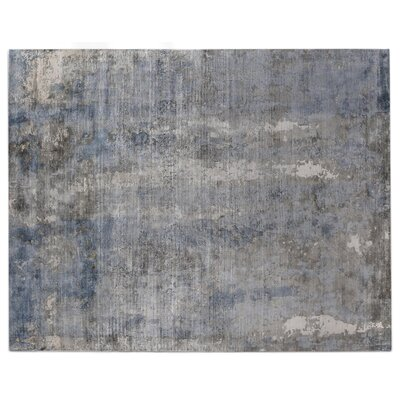 Hand-Woven Marine/Silver Area Rug Rug Size: 10 x 14