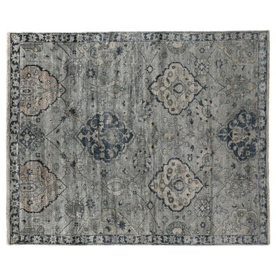 Hand-Knotted Gray/Denim Blue Area Rug Rug Size: Rectangle 9 x 12
