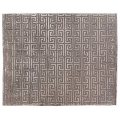 Hand-Knotted Wool Silver Area Rug Rug Size: Rectangle 10 x 14