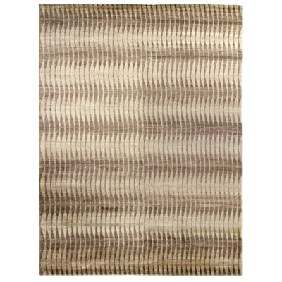 Hand-Knotted Beige/Brown Area Rug Rug Size: Rectangle 9 x 12