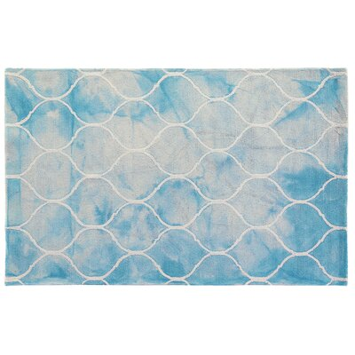 Dip-Dye Hand-Tufted Wool Aqua Area Rug Rug Size: 96 x 136