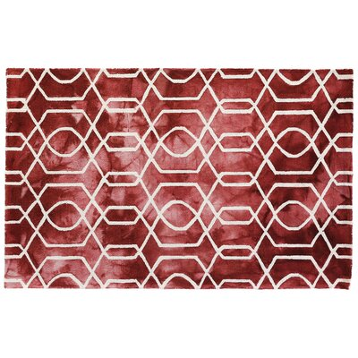 Dip-Dye Hand-Tufted Wool Red Area Rug Rug Size: 5 x 8