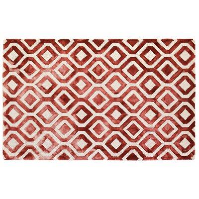 Dip-Dye Hand-Tufted Wool Red Area Rug