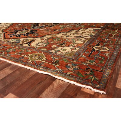 Serapi Hand-Knotted Wool Red Area Rug Rug Size: Rectangle 4 x 6