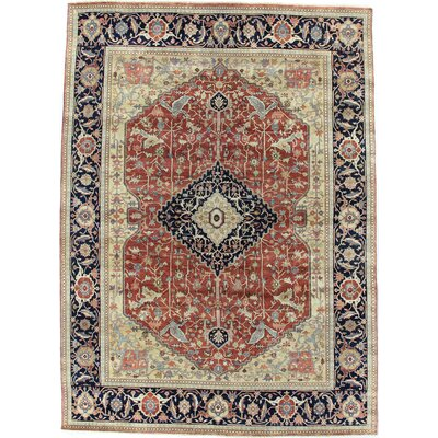 Fine Serapi Hand-Knotted Wool Red/Blue Area Rug