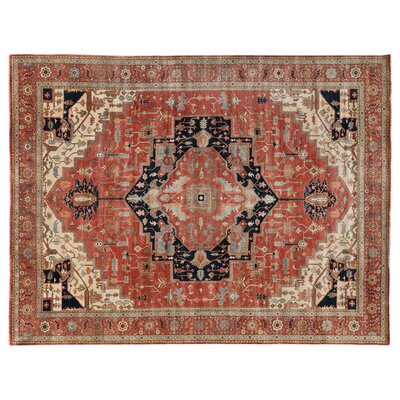 Fine Serapi Hand-Woven Wool Peach Area Rug Rug Size: Rectangle 9 x 12