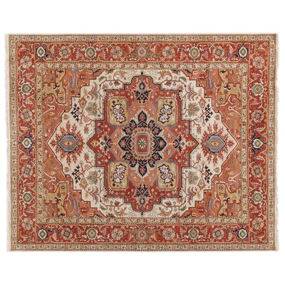 Fine Serapi Hand-Knotted Wool Cream/Rust Area Rug Rug Size: 12 x 15