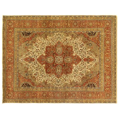Fine Serapi Hand-Knotted Wool Ivory/Rust Area Rug Rug Size: Rectangle 10' x 14'