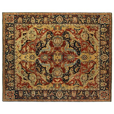 Polonaise Hand-Knotted Wool Red/Blue/Dark Brown Area Rug Rug Size: Rectangle 9' x 12'