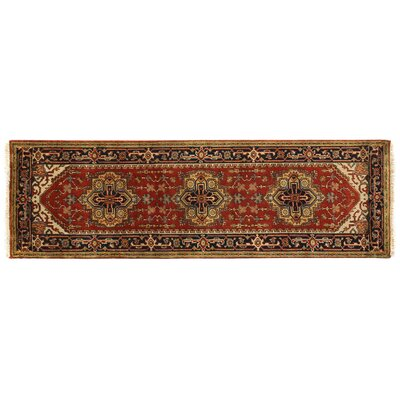 Serapi, New Zealand Wool, Rust/Navy (26x8) Runner Rug Size: Runner 26 x 12