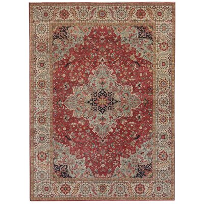 Fine Serapi Hand-Knotted Wool Dark Red Area Rug Rug Size: Rectangle 12 x 15