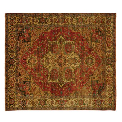 Serapi Hand-Knotted Wool Red/Ivory Area Rug Rug Size: 9 x 10
