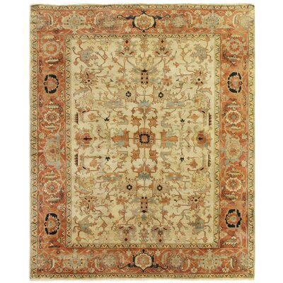 Serapi, New Zealand Wool, Ivory/Red/Brown (15x20) Area Rug Rug Size: 14 x 18