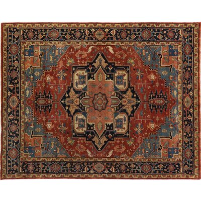 Serapi Hand-Knotted Wool Rust/Blue Area Rug Rug Size: Rectangle 6 x 9