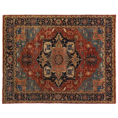Serapi Hand-Knotted Wool Rust/Blue Area Rug Rug Size: Rectangle 9 x 12