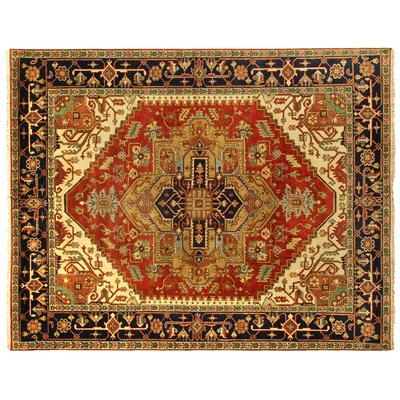 Serapi Hand-Knotted Wool Rust/Navy Area Rug Rug Size: Rectangle 9 x 12