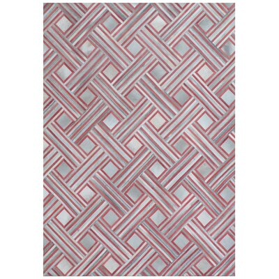 Natural Hide Hand-Tufted Cowhide Red/Silver Area Rug