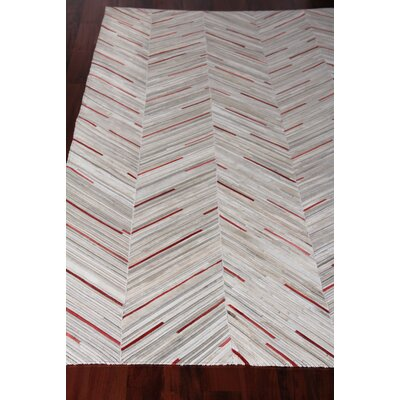 Natural Hide Leather Hand-Woven Gray/Red Area Rug Rug Size: Rectangle 96 x 136