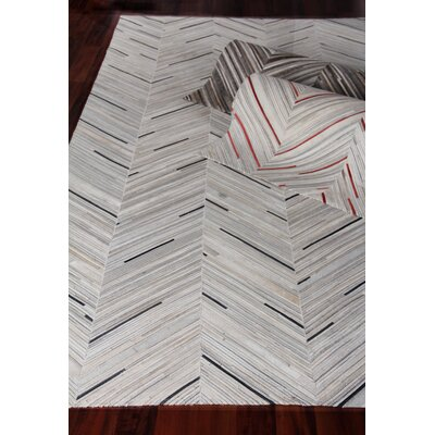 Natural Hide Leather Hand-Woven Gray/Red Area Rug Rug Size: Rectangle 5 x 8