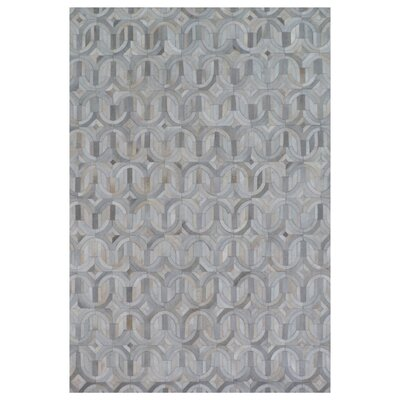 Natural Hide Hand-Tufted Cowhide Ivory/Silver Area Rug Rug Size: 5 x 8