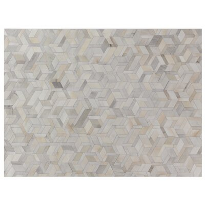 Natural Hide, Leather, Ivory/Multi (96x136) Area Rug Rug Size: 5 x 8