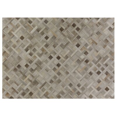Natural Hide, Leather, Silver/Ivory/Multi (96x136) Area Rug Rug Size: 116 x 146