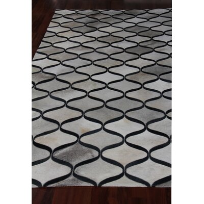 Natural Hide Hand Woven Cowhide Gray/Black Area Rug Rug Size: Rectangle 96 x 136