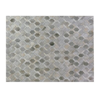 Natural Hide, Leather, Silver/Ivory/Multi (96x136) Area Rug Rug Size: 5 x 8