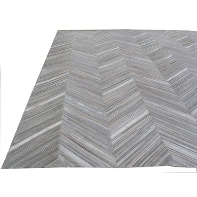 Natural Hide Leather Hand-Woven Gray Area Rug Rug Size: Rectangle 5 x 8