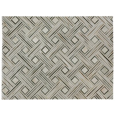 Natural Hide, Leather, Silver/Ivory/Multi (96x136) Area Rug Rug Size: 96 x 136