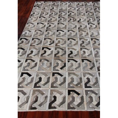 Natural Hide Leather Hand-Woven Ivory/Gray Area Rug Rug Size: Rectangle 5 x 8