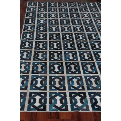 Natural Hide Leather Hand-Woven Teal/Black Area Rug Rug Size: Rectangle 116 x 146