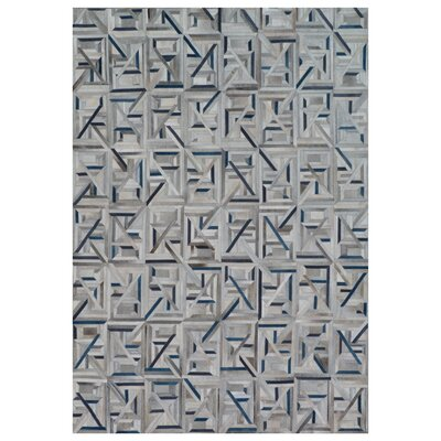 Natural Hide Hand Woven Cowhide Gray/Blue Area Rug Rug Size: Rectangle 116 x 146