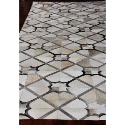 Natural Hide Leather Hand-Woven Ivory/Gray Area Rug Rug Size: Rectangle 116 x 146